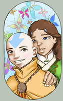 Aang and Katara Lines Colored by amiraink
