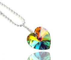 Swarovski Vitrail Medium (Green) Heart Crystal by crystaland