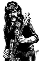 Lemmy Kilmister is God (Black and White) by christiano-bill