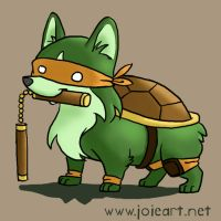 Teenage Mutant Ninja Corgi by JoieArt