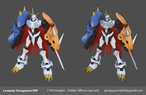 Lowpoly Omegamon Texturing WIP by MightyDargor