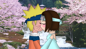 Naruto And Lucy Kissing Under The Cherry Blossoms by QueenSilvia95