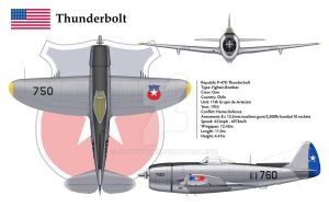 P-47D Chile 1 3-View by WS-Clave