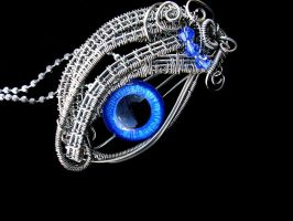 Pewter Blue Silver - Glow In the Dark Sky Eye by LadyPirotessa