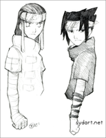 Neji and Sasuke sketch by shidonii