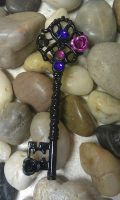 Midnight Rose Fantasy Key Pendant by ArtByStarlaMoore