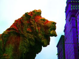 Chicago's Lion In Red by RaCzarina