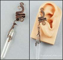 Copper and Quartz Point Ear Cuff by sylva