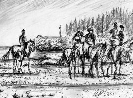 Beach Riders Drawing by philippeL