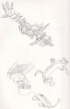 Robo and calvin and hobbes by lonewolf100
