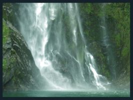 Waterfall - Milford Sound by narlified