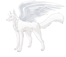 Free Winged Wolf Lineart by c-yang