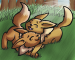 Eevee Snuggle by AgentQwilfish