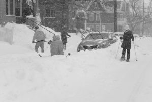 2015 January Blizzard, Street Skiers and the Fall by Miss-Tbones