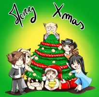Merry Xmas :3 (Final Fantasy 8 chibi team) by Khaneety