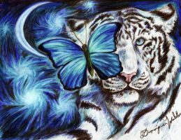 White Tiger and Butterfly by SyberDeath