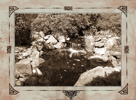 Garden Waterfall in Sepia by Artzmakerz