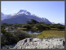 small pond and mountain by Macomona