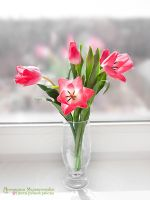 Tulips - Polymer Clay Flowers by CraftFlowers