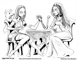 #INKtober 28. Sally and Emily, arm wrestling. by AxelMedellin