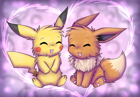 Point Commission: Pikachu x Eevee by Eevora