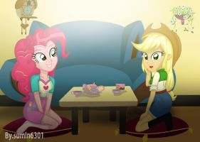 PinkiePie and AppleJack - Teatime by sumin6301
