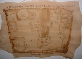 Marauders' Map leather hanging by foxalbiazul