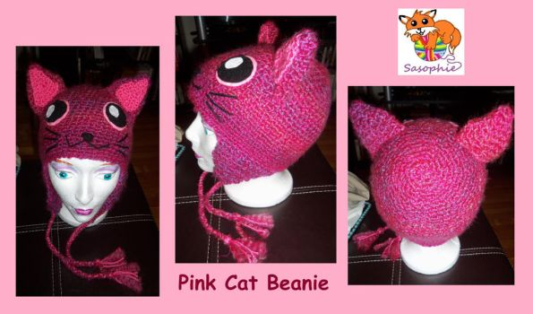 Pink cat beanie by Sasophie