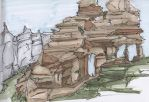 Copic Marker Sketch: Rock Formation 4 by mmarra12