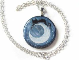 Crescent Moon Cat Pendant Necklace by sobeyondthis