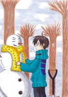 Teito Klein with snowman by Yugoku-chan
