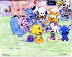 Cartoon Dogs Playing Poker by BossZula