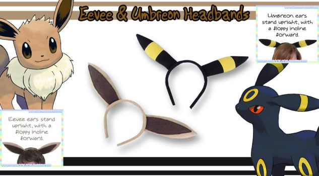Eevee and Umbreon Headbands by AnimeNomNoms