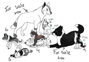 Wolf Family Adopts-2nd Generation-Dad and pup left by KayAdoptables