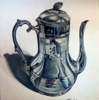 Antique Silver Teapot by PencilRick