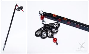 Black Maiko hair stick by MissAnnThropia