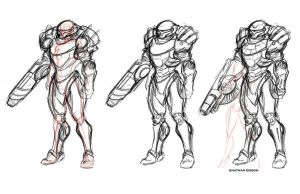 Samus Aran Warm-up sketchings by Transbot9