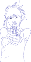Lineart_Girl with a Gun by HOBOBOX