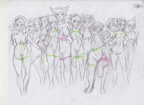 Beachgirls lineup by GroovechampDA