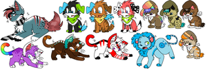 Adoptables::1-12 -TWO LEFT- by Koshi-Doshi