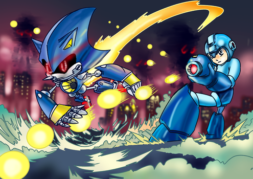 METAL SONIC AND MEGA MAN by HAYMAKERS