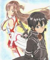 Sword art online - Kirito and Asuna by screwston12