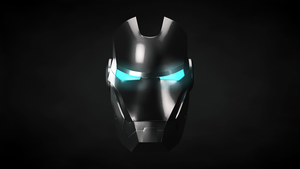 Iron Man Helmet Front Black and Blue by Exherion