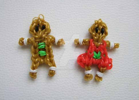 Gingerbread boy and girl cookies - Rainbow Looms by lonely--soldier