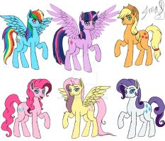 The Mane Six re-design of Book 1. by MaggiesHeartLove