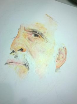 Christopher Lee WIP by MaikeLaise