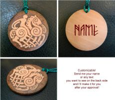 NORSE GOD ODIN two sided keychain with your name by YANKA-arts-n-crafts