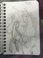 Sketch: Mother unicorn with foal by Finya-Vardeen