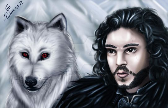Jon Snow and Ghost by JenGaleia