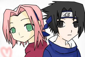 Chibi Sakura and Sasuke by AniimeLoverr